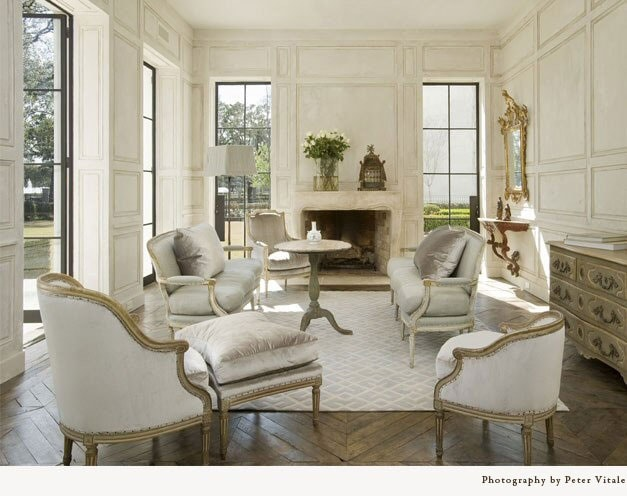 bergere chair neutral living room pamela pierce