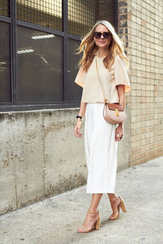 tan block heel sandals with beige outfit
