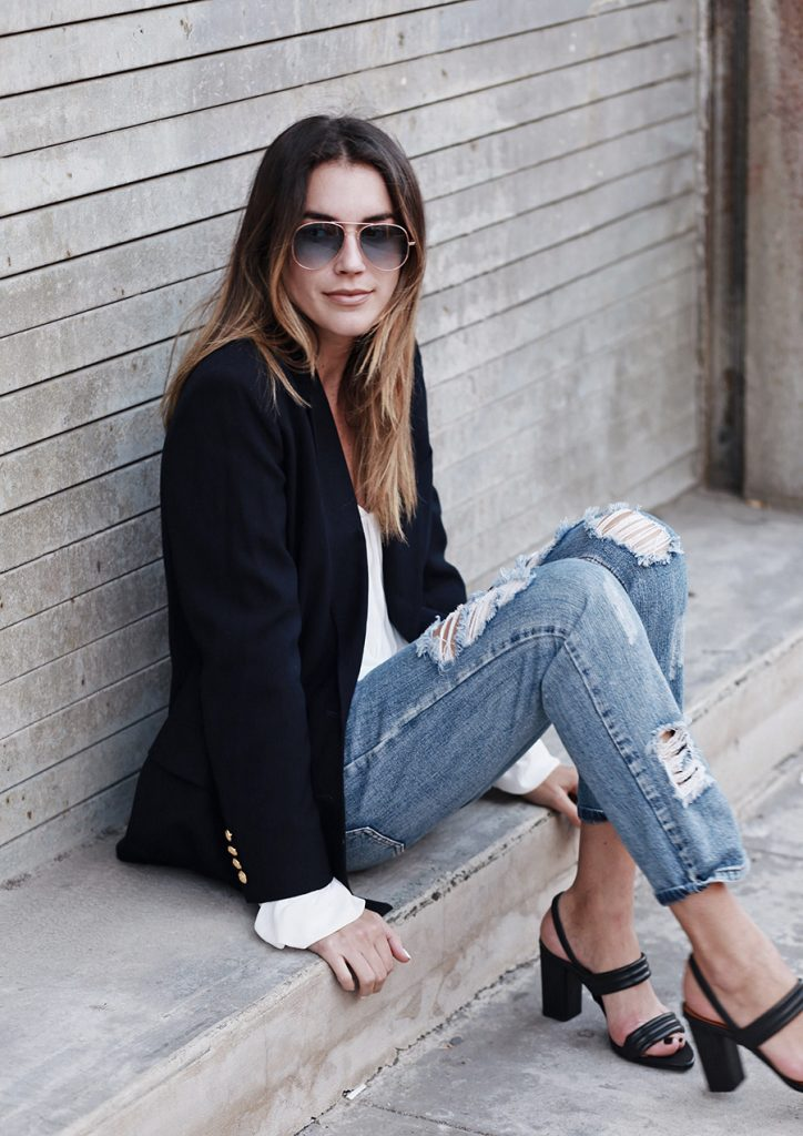 black block heel sandals with jeans and a blazer