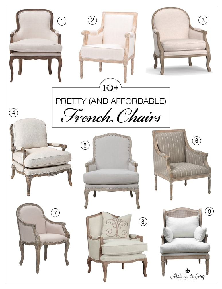 pretty and affordable french bergere chairs graphic Maison de Cinq