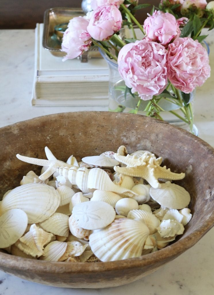 dough bowls shells beach coastal summer decor with peonies