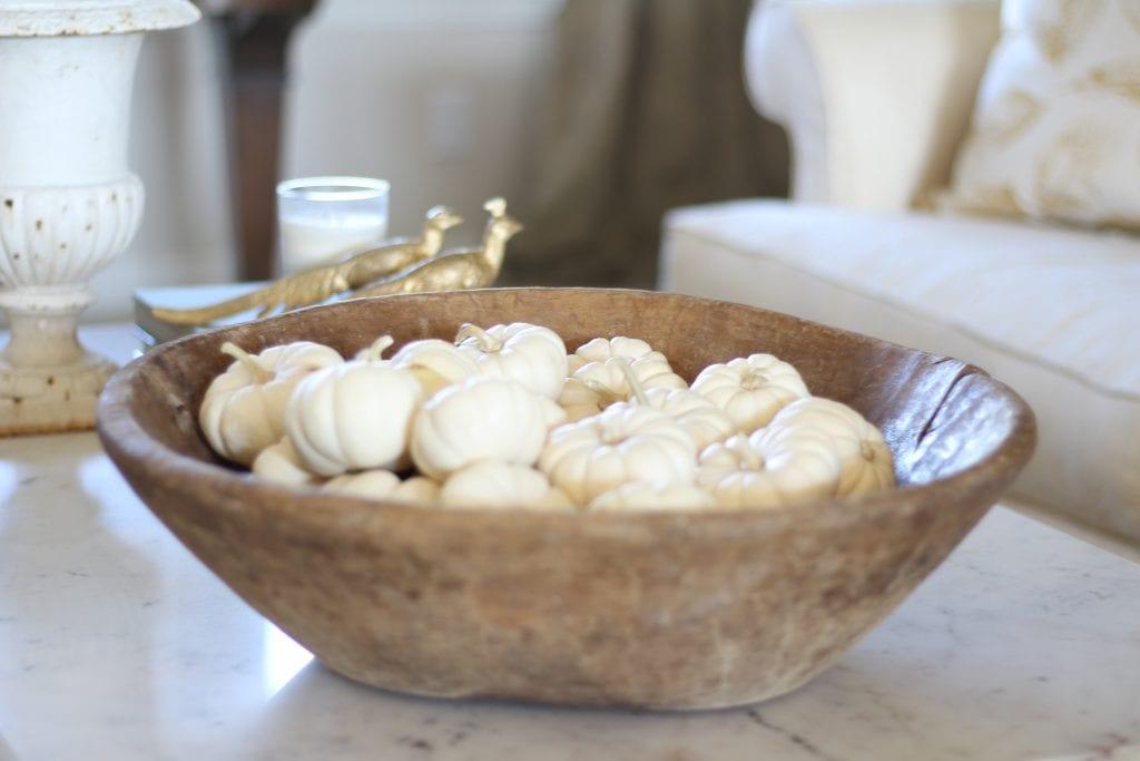 dough bowls white pumpkins fall decor