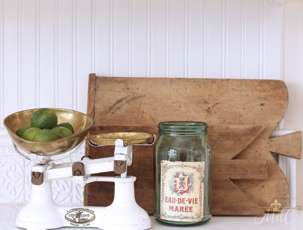 vintage french bread boards display antique scale white kitchen decor vignette