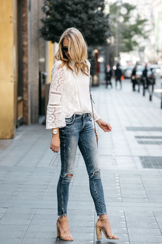 block heel sandals with distressed jeans and a lace top