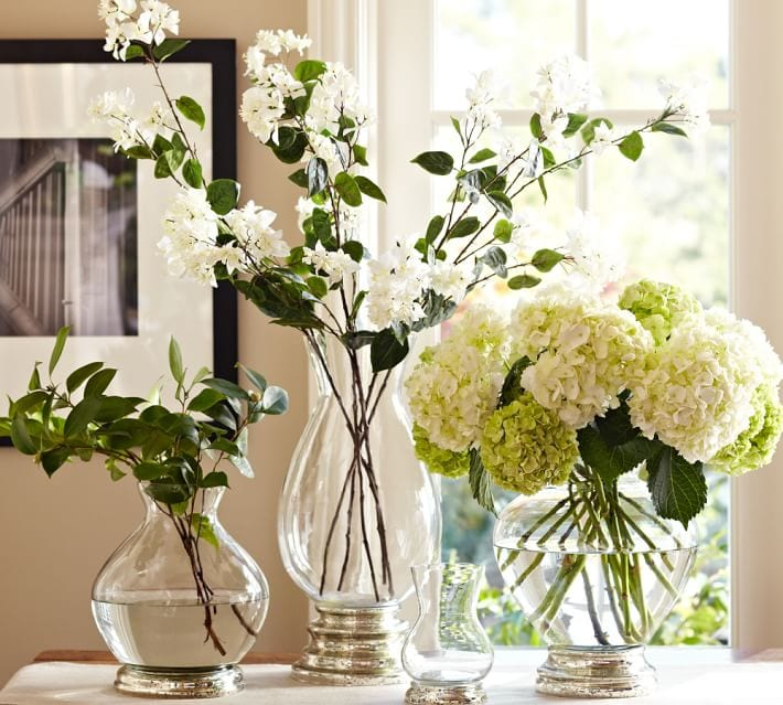white hydrangeas grouping glass vases white flowers