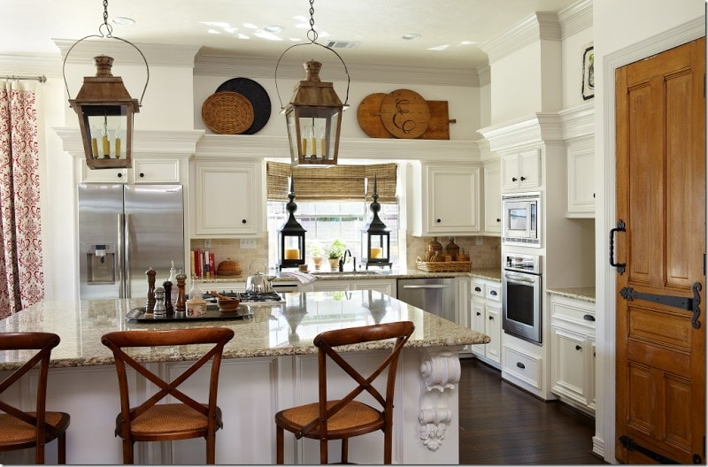 vintage french bread boards decorating white kitchen