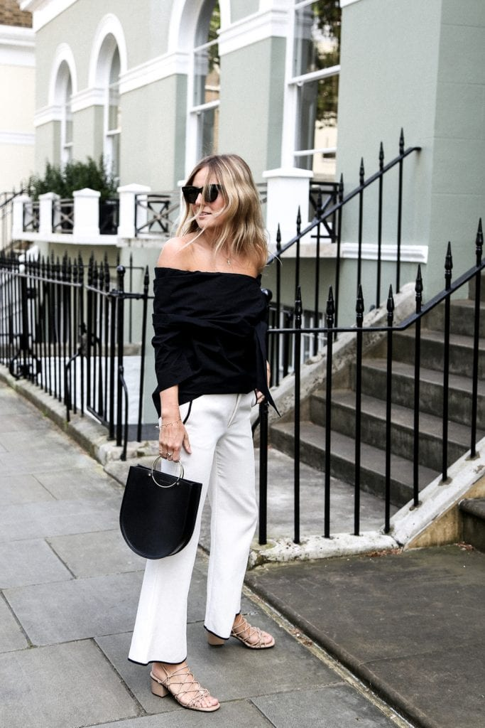 black and white outfit with neutral block heel sandals