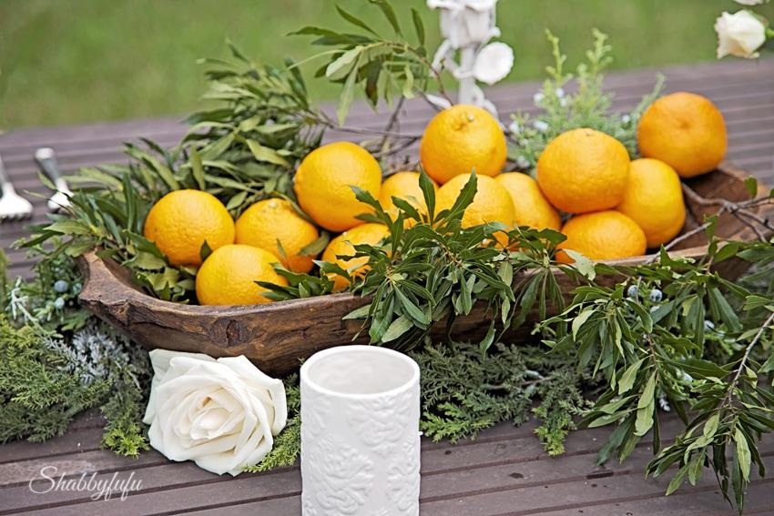dough bowls oranges and greens tablescape centerpiece