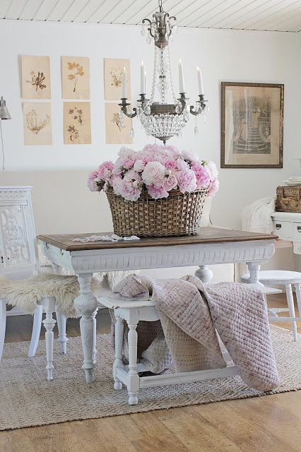 vintage baskets peonies farmhouse dining room stunning decor french