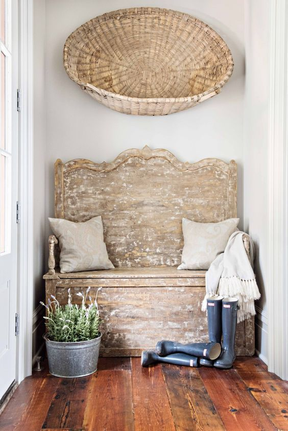 vintage baskets hung on wall farmhouse style bench beautiful decor