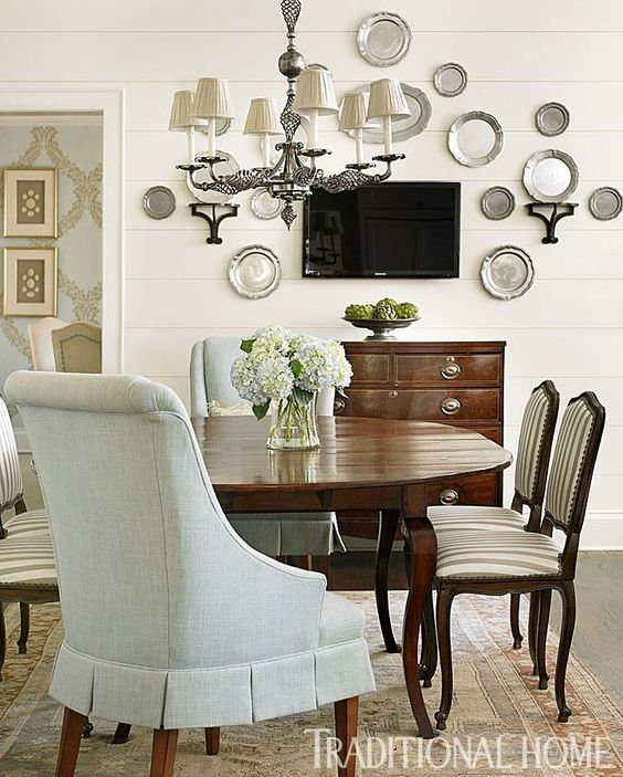decorating with pewter wall display traditional dining room