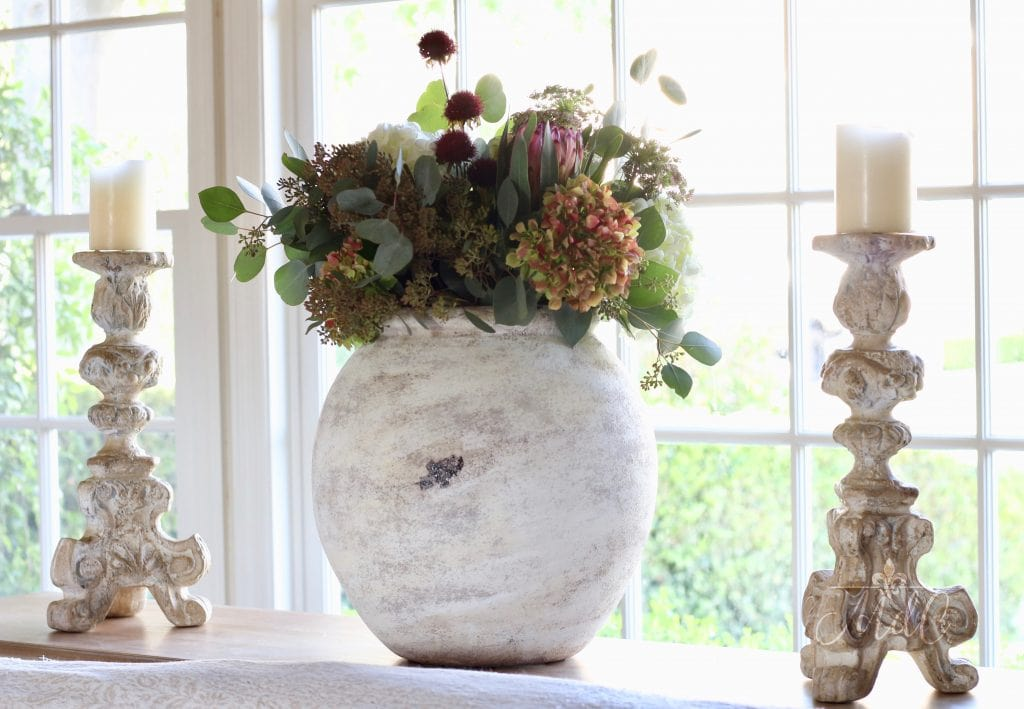 warm and cozy fall home tour fall flowers gorgeous vase in neutral living room