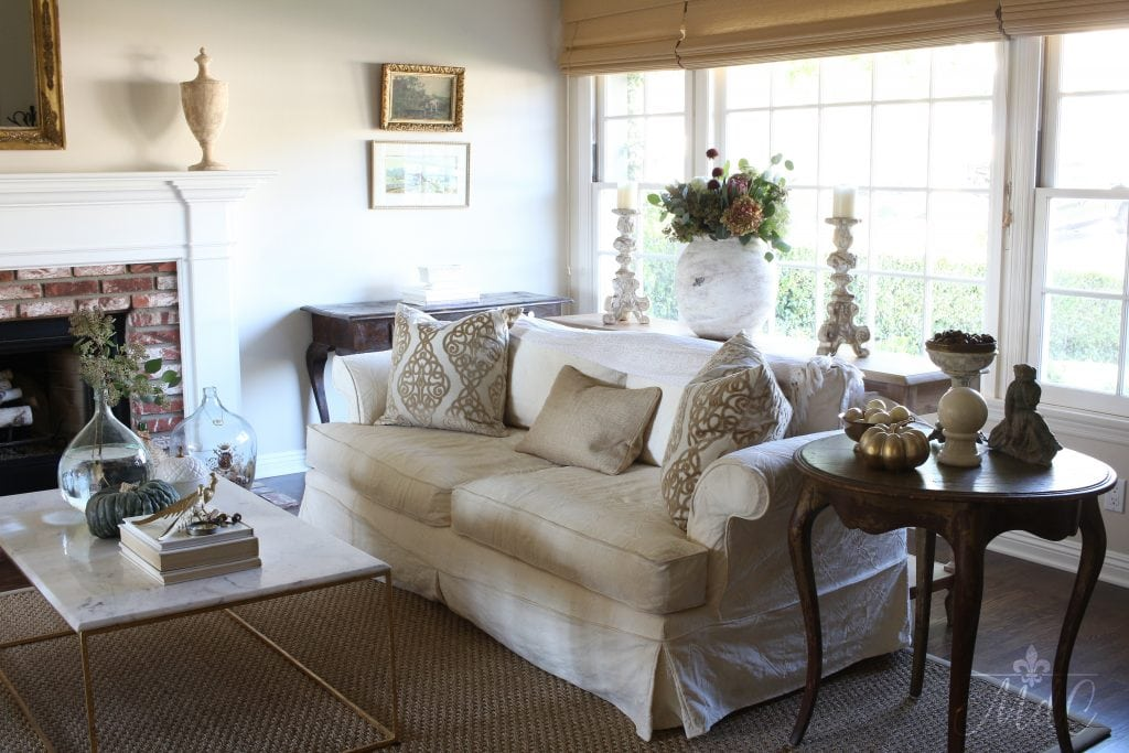 warm and cozy fall home tour neutral living room fall inspiration