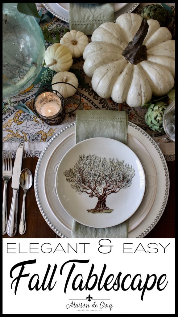 easy elegant fall tablescape banner with greens and creams