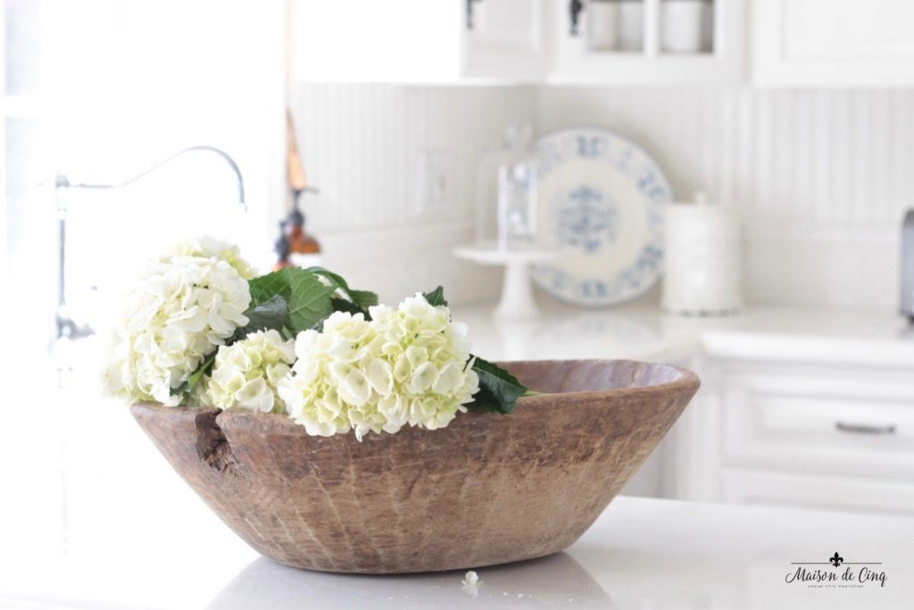 white hydrangeas dough bowl gorgeous vignette farmhouse style white kitchen