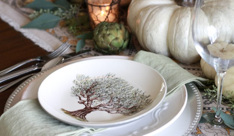 Elegant Fall Tablescape in Greens and Creams