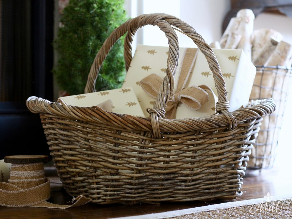 VINTAGE BASKETS how to style christmas decor presents hearth