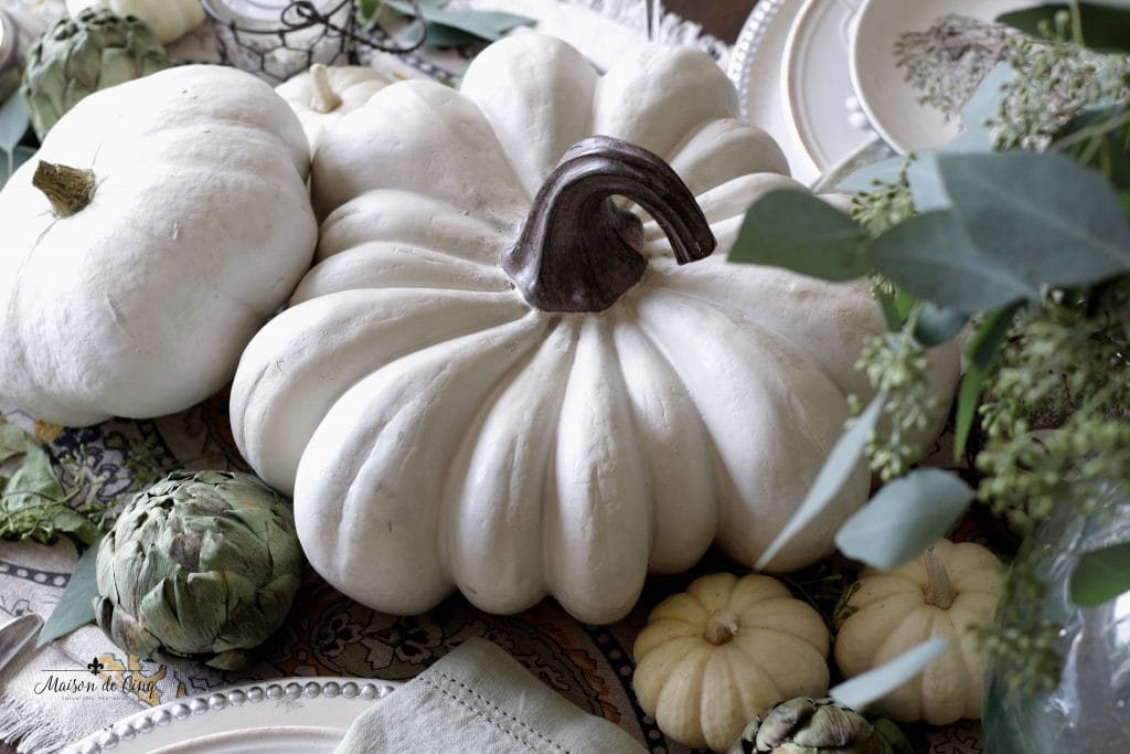 elegant fall tablescape white pumpkins and artichokes