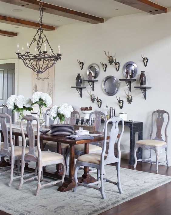 decorating with pewter wall display plates dining room farmhouse country
