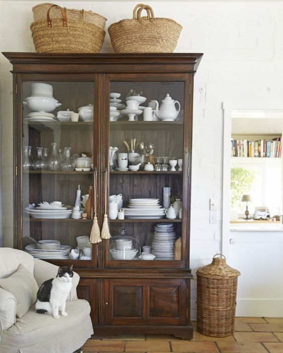 vintage market baskets on china cabinet farmhouse style charming