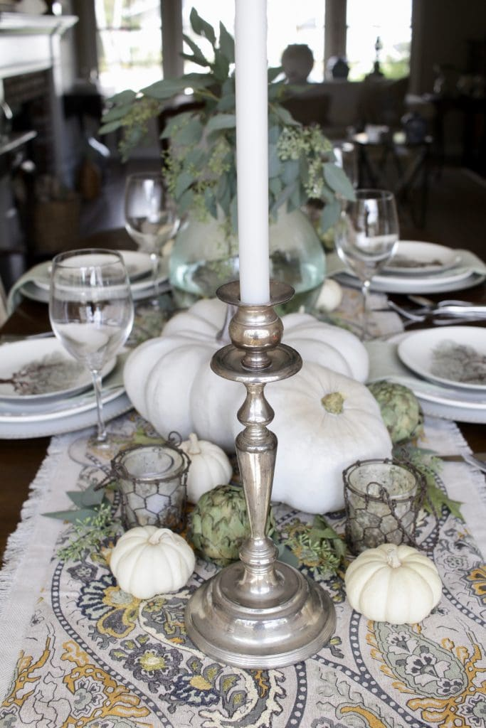 elegant fall tablescape in green, grey, and cream