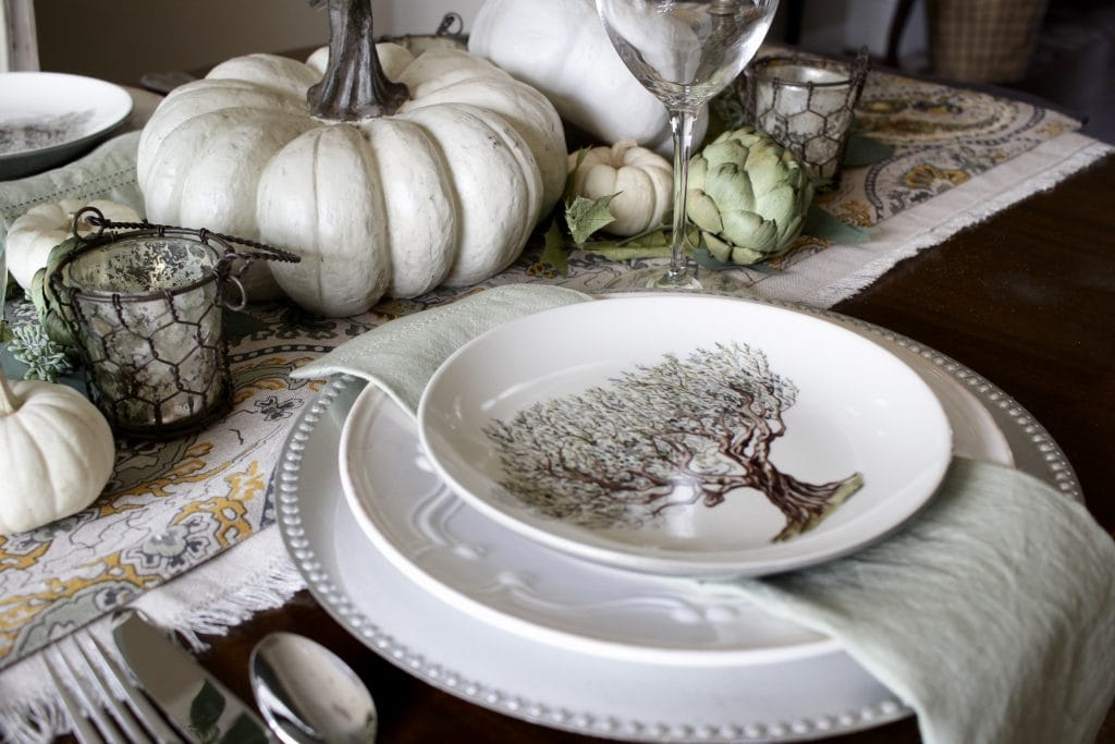 elegant fall tablescape in green and cream 2