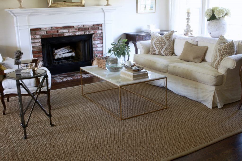 seagrass rugs gorgeous living room with fireplace and white sofa