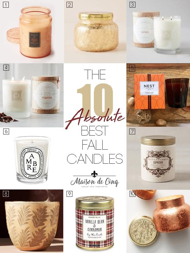 10 Best Fall Candles graphic Maison de Cinq