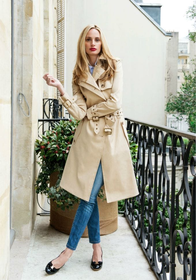 Laura Santo domingo trench coat jeans chanel flats classic fashion french style