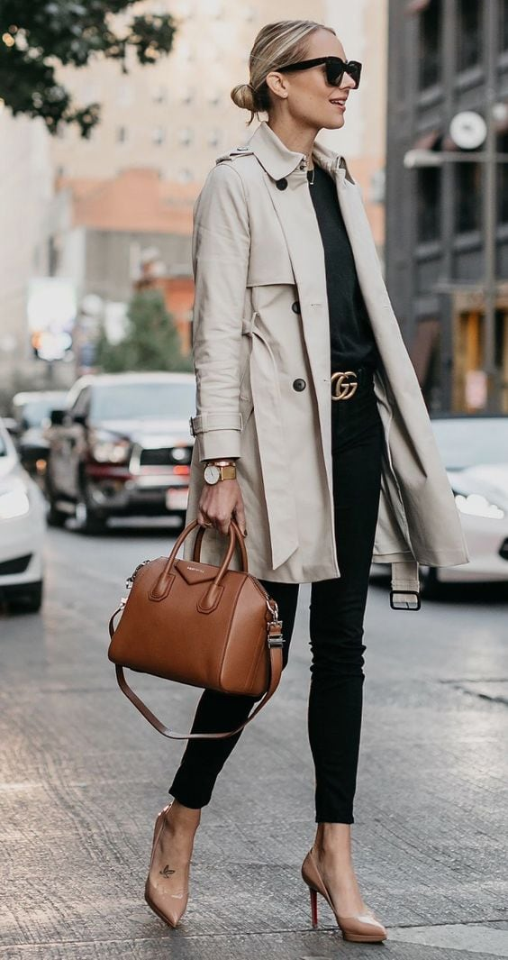 trench coat black jeans street style fashion ideas
