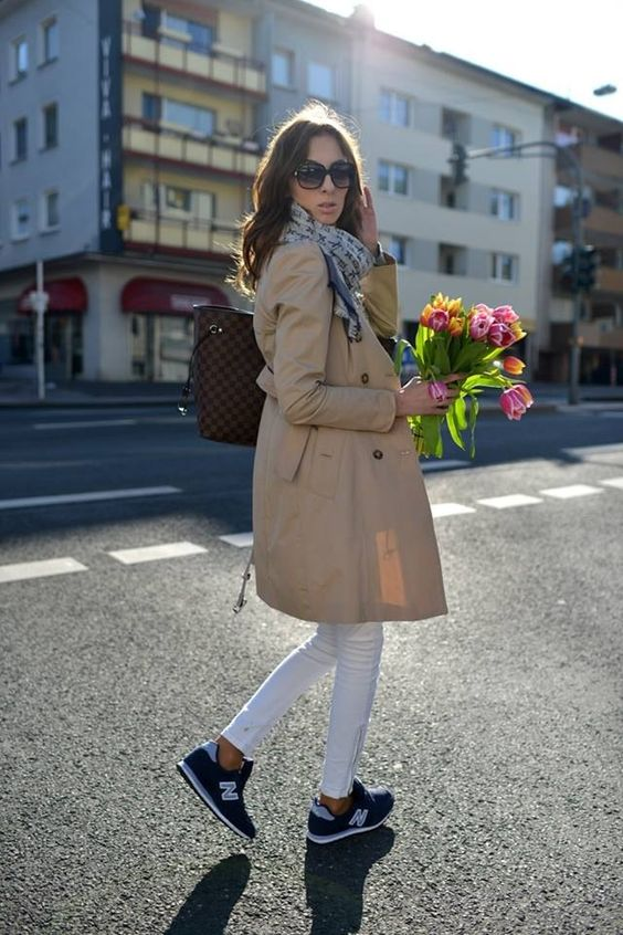 trench coat scarf white jeans sneakers