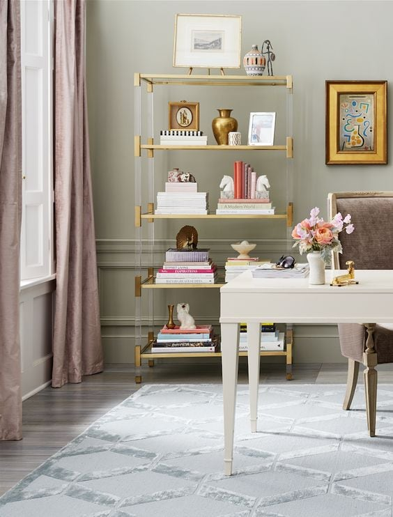 chic home offices glamorous feminine white desk lucite shelves