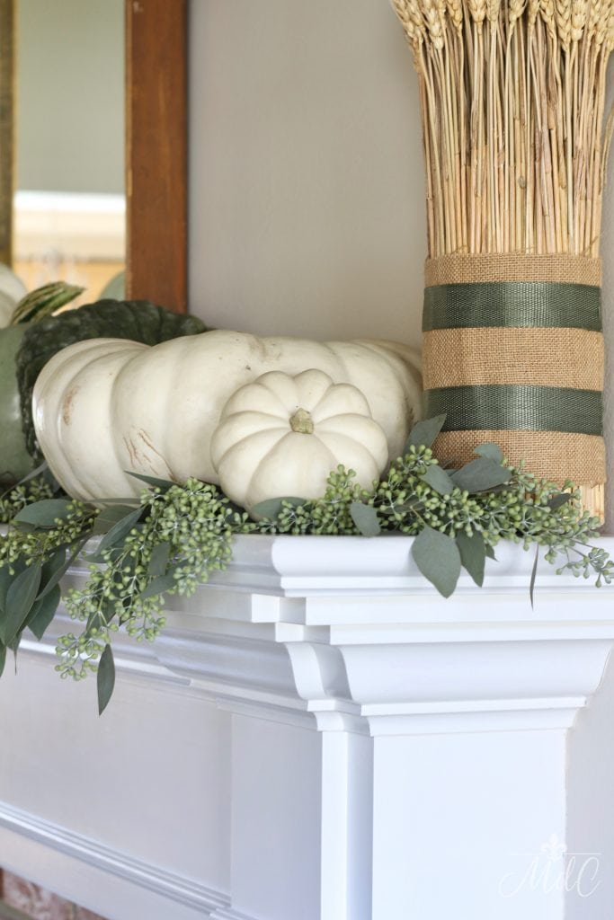neutral fall mantel autumn fall decor wheat eucalyptus pumpkins