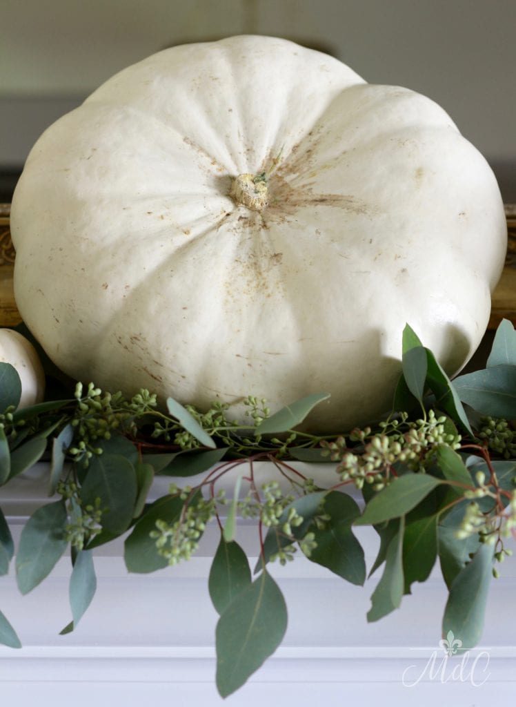 neutral fall mantel white pumpkin eucalyptus gorgeous fall decorating