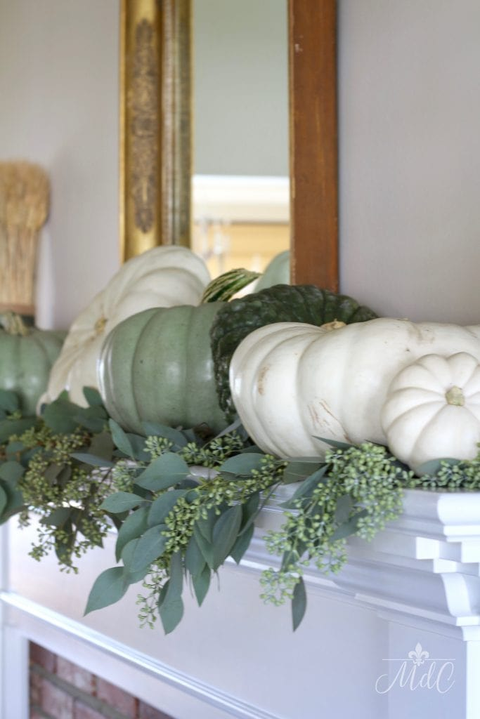 neutral fall mantel gorgeous fall decor green and white pumpkins eucalyptus