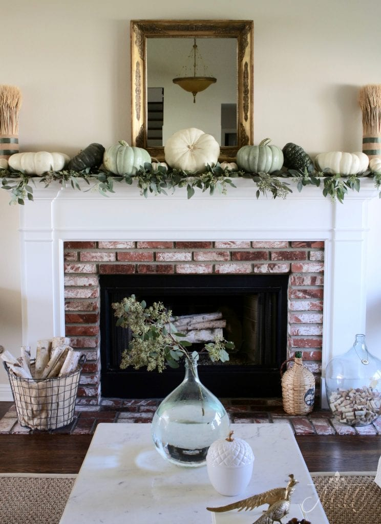 neutral fall mantel decor autumn decorating living room green and white