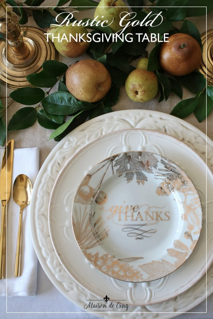 Elegant Rustic Gold Thanksgiving Table graphic Maison de Cinq