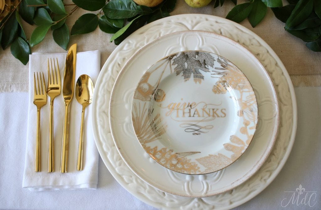 thanksgiving table in gold and white