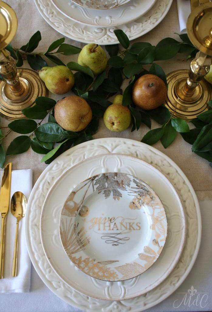 thanksgiving table gorgeous pears and gold and white