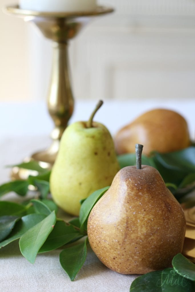 thanksgiving table golden pears