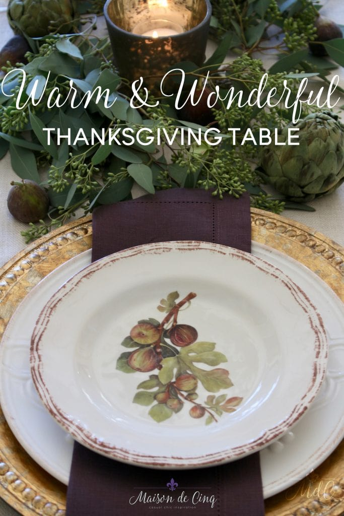 thanksgiving table warm and wonderful deep rich autumn colors figs and artichokes