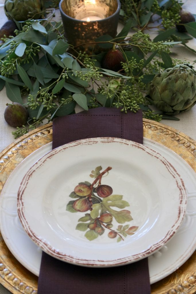 thanksgiving table fall bounty figs artichokes eucalyptus rich fall colors