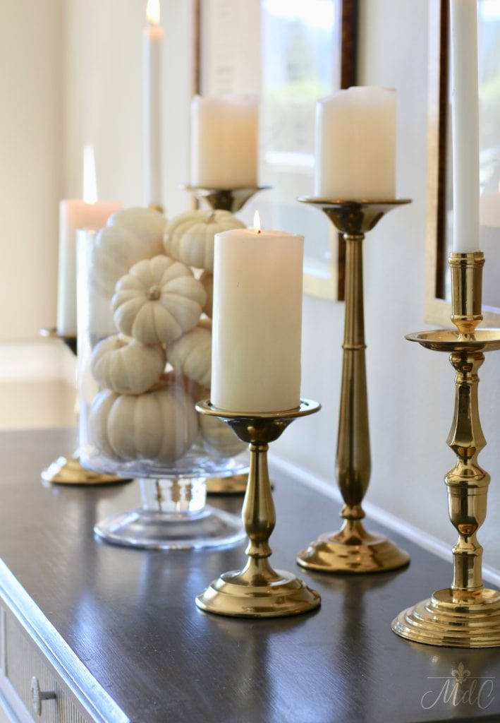 thanksgiving table sideboard white pumpkins brass candlesticks 2