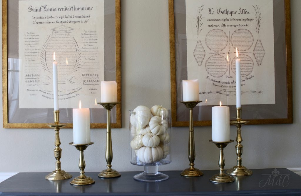 thanksgiving table sideboard white pumpkins brass candlesticks