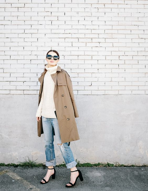 trench coat turtleneck boyfriend jeans heels so chic