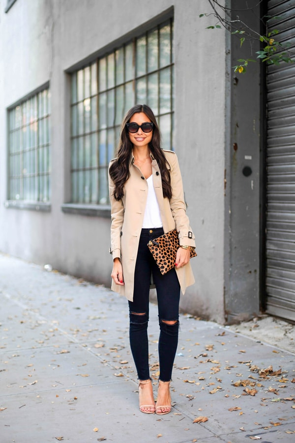 trench coat leopard bag black jeans