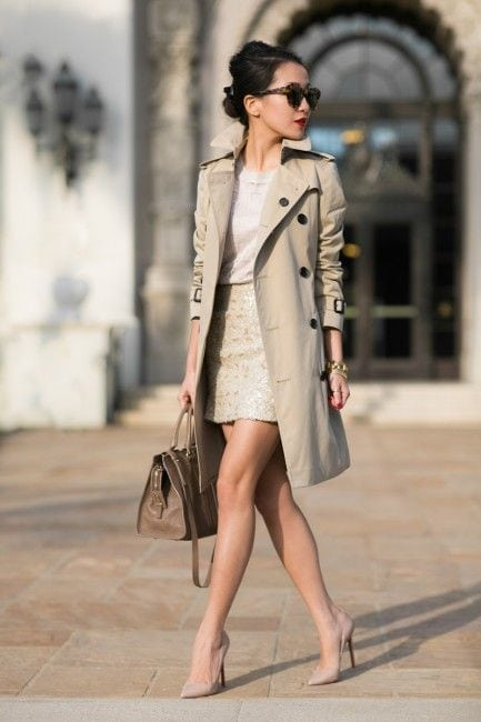 trench coat elegant neutral outfit skirt