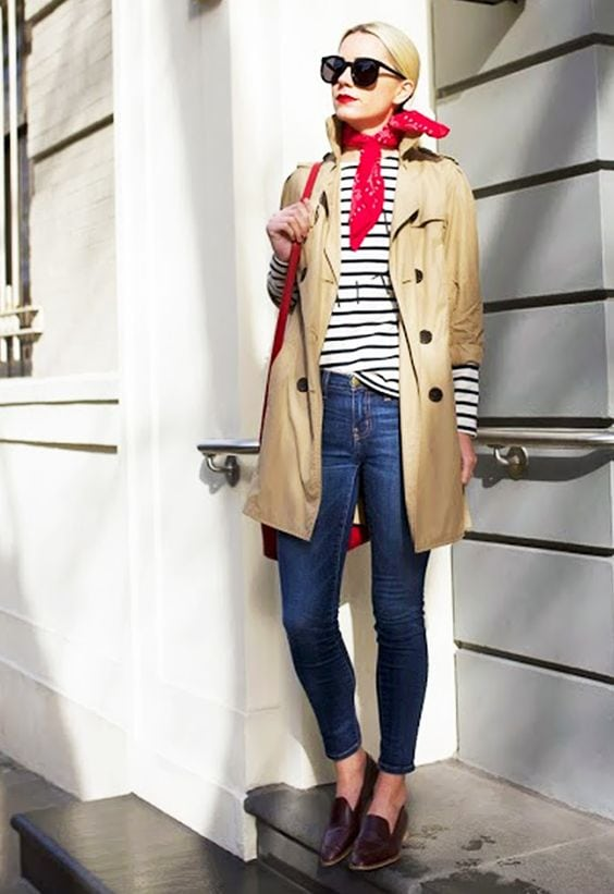 classic trench coat bandana striped shirt jeans loafers