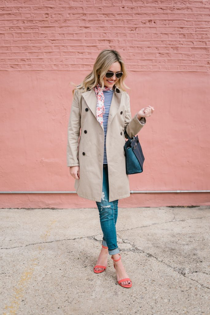 trench coat striped shirt cute scarf heels