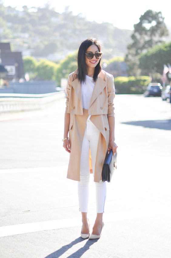 trench coat with white top and white jeans gorgeous fashion style ideas